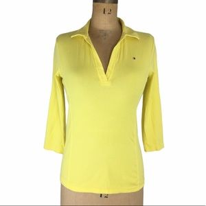 Tommy Hilfiger 3/4 Sleeve Yellow Polo Shirt